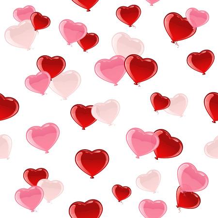 st valentins day: Sfondo trasparente con Valentines palloncini colorati in forma di cuore, illustrazione.