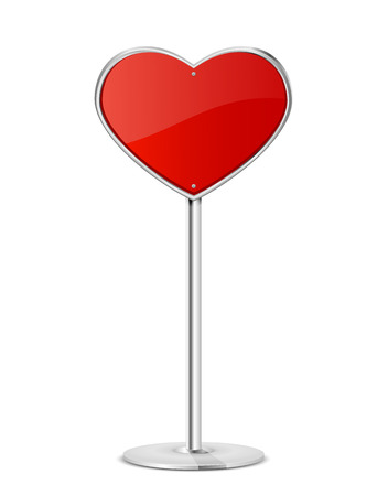 Road sign in the form of red heart on a stand, illustration. Vector