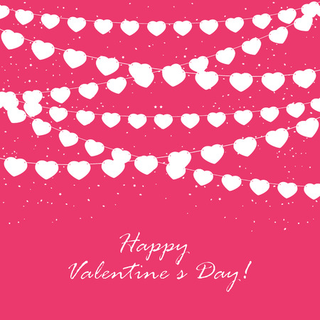 st valentin's day: Pink Valentines background with confetti and pennants in the form of hearts, illustration. Illustration