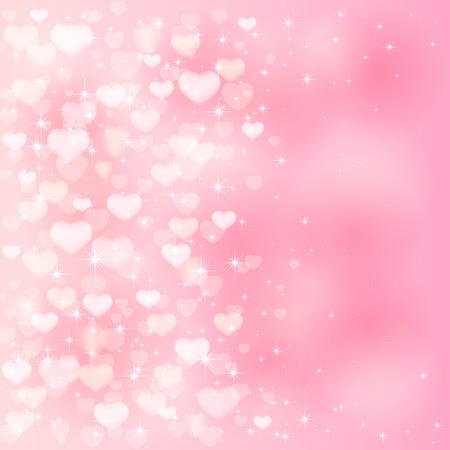 ピンクのハートや星、イラストとぼやけてバレンタイン背景。