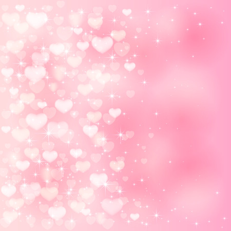 Blurry Valentines background with pink hearts and stars, illustration.