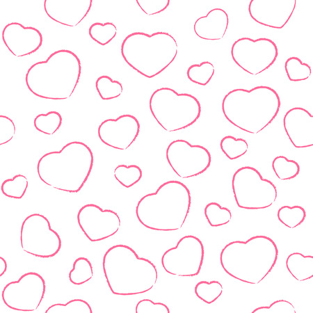st valentins day: Seamless background with painted pink Valentines hearts, illustration.
