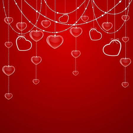 st valentins day: Rosso San Valentino sfondo con cuori trasparenti ed elementi decorativi, illustrazione.
