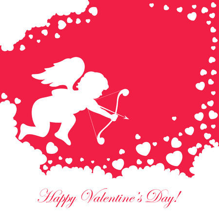 love image: Red valentines background with cupid and hearts, illustration.