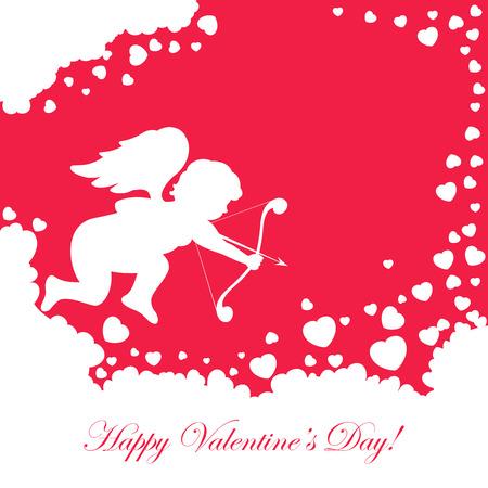st valentins day: San Valentino sfondo rosso con Cupido e il cuore, illustrazione.