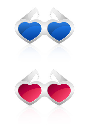 st valentins day: Glasses in the shape of heart isolated on white background, illustration.