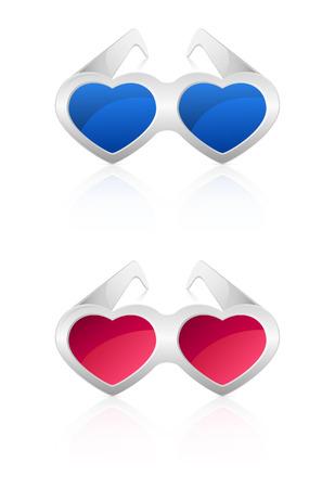 st valentins day: Occhiali a forma di cuore isolato su sfondo bianco, illustrazione.