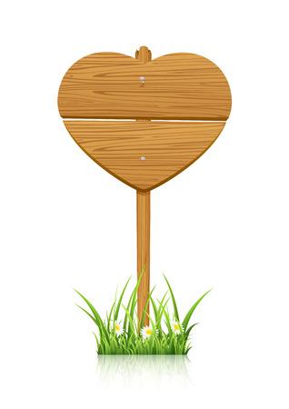 st valentins day: Segno di legno a forma di cuore, illustrazione.