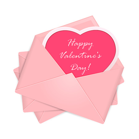 st valentin's day: Set of pink envelopes with heart and Valentines congratulations, illustration. Illustration