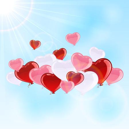 st valentins day: Palloncini San Valentino in forma di cuore su sfondo cielo, illustrazione.