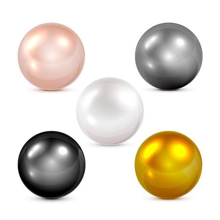 pelota: Conjunto de esferas de colores y perlas aisladas sobre fondo blanco, ilustraci�n.