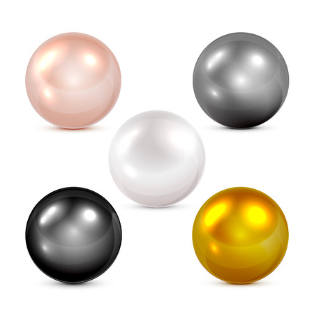 Set of colorful spheres and pearls isolated on white background, illustration.