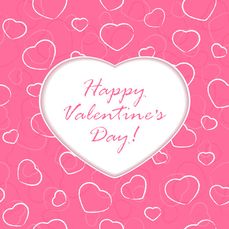 st valentin's day: Pink background with Valentines heart and congratulations, illustration.