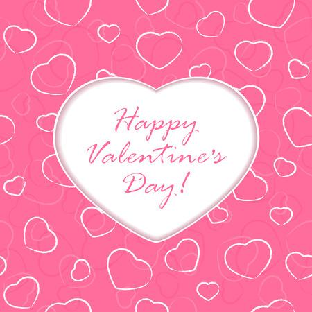 st valentins day: Sfondo rosa con Valentines cuore e congratulazioni, illustrazione.