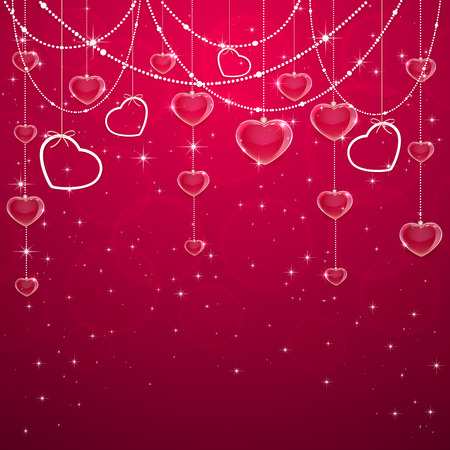 st valentins day: Pink Valentines background with hearts and decorative elements, illustration. Illustration