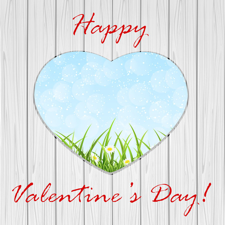 Valentines background with heart on wooden fence, illustration.