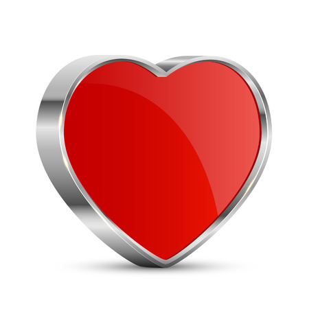 st valentin's day: Red valentines heart isolated on white background, illustration.