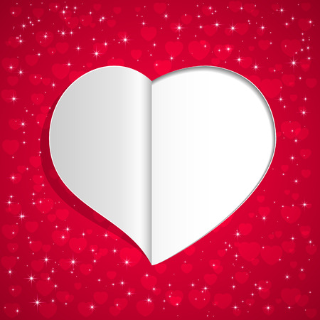 st valentins day: Red background with paper Valentines heart and stars, illustration.