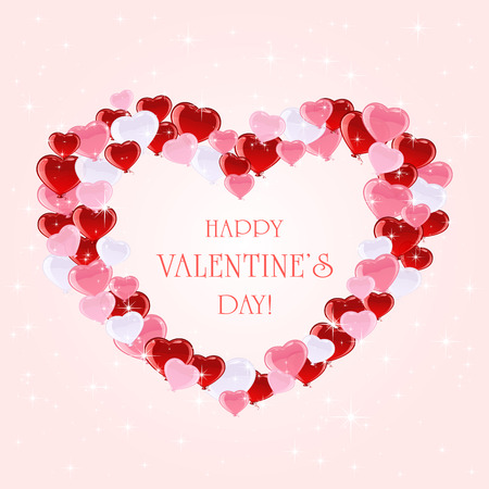 st valentins day: Valentines colorful balloons and stars on pink background, illustration.