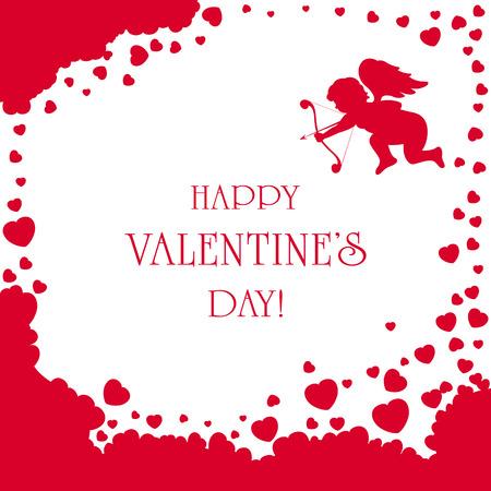 st valentins day: Cuori Cupido e San Valentino su sfondo bianco, illustrazione. Vettoriali