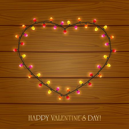 st valentins day: San Valentino cuore da luci colorate su sfondo di legno, illustrazione. Vettoriali