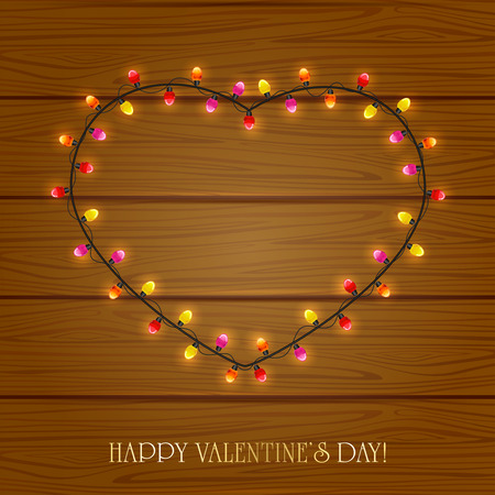 st valentins day: Valentines heart from colorful lights on wooden background, illustration. Illustration