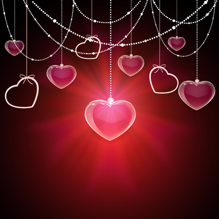 st valentin's day: Shining Valentines background with transparent hearts and decorative elements, illustration.
