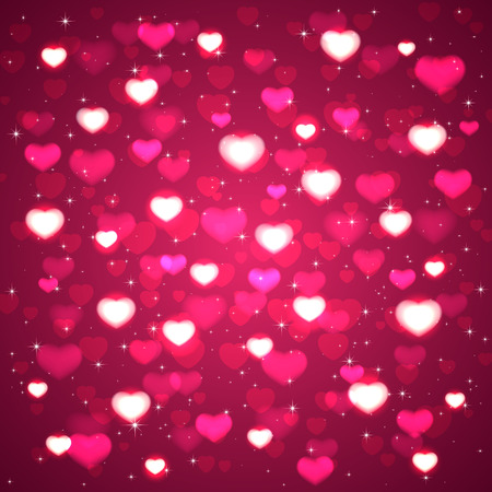 Pink background with blurry hearts and stars, illustration. Vector