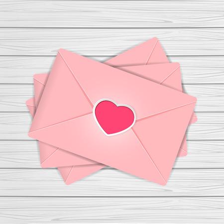 st valentins day: Set of pink envelopes with Valentines heart on wooden background, illustration. Illustration