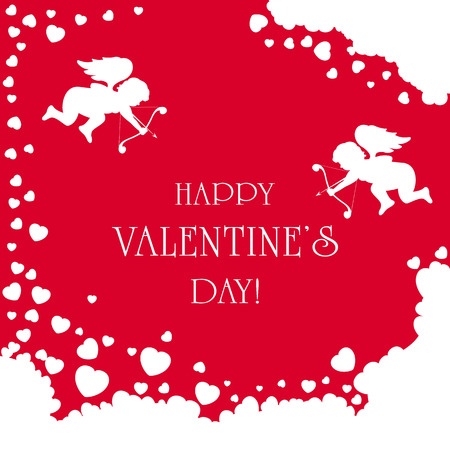 st valentins day: Cupids and Valentines hearts on red background, illustration.