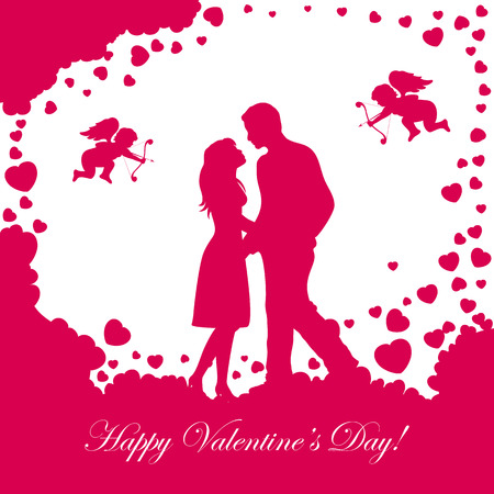 st valentins day: Abstract background with loving couple, pink Valentines hearts and cupids, illustration. Illustration