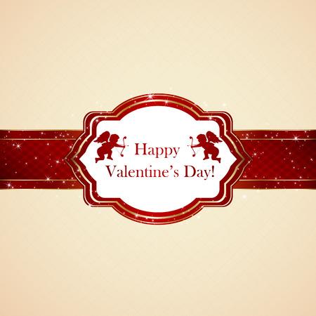 st valentins day: Valentines card with cupids on beige background, illustration. Illustration