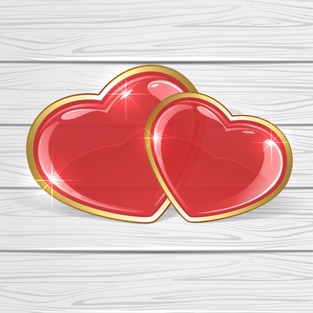 Red shiny hearts on white wooden background, illustration. Vector