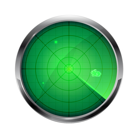 sonar: Green radar with Easter bunny isolated on white background, illustration. Illustration