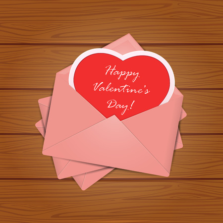 st valentins day: Set of pink envelopes with red heart and Valentines congratulations on wooden background, illustration.