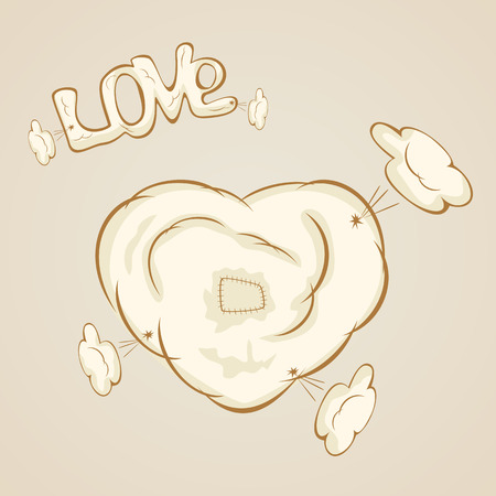 st valentin's day: Patches on the heart on a beige background, illustration.