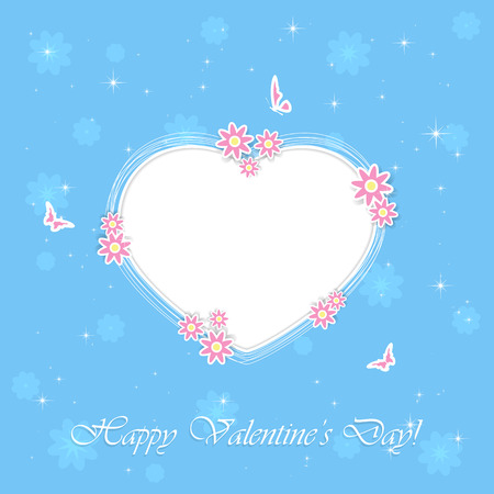 st valentins day: Blue background with Valentines heart, flowers and butterflies, illustration. Illustration