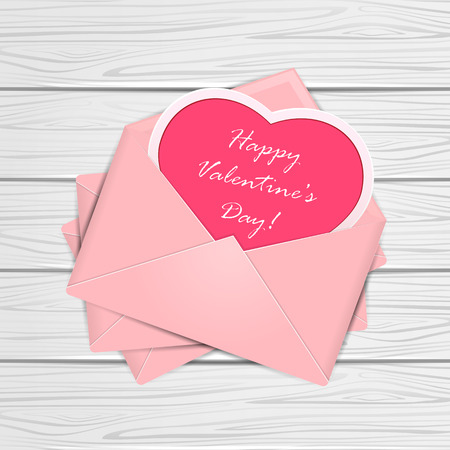 st valentin's day: Set of pink envelopes with heart and Valentines congratulations on white wooden background, illustration.