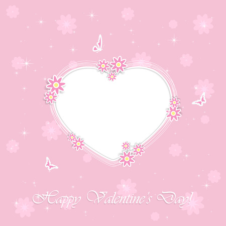st valentins day: Pink background with Valentines heart, flowers and butterflies, illustration. Illustration