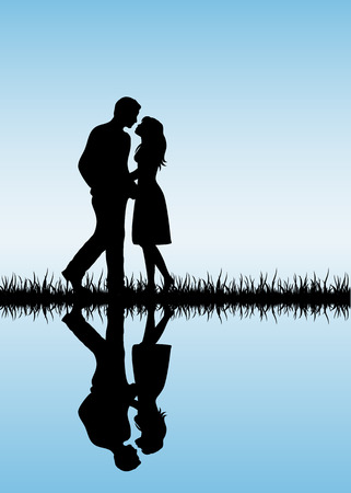 Silhouette of two enamored on blue background, illustration.