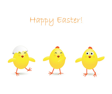 Three happy Easter chicken on white background, illustration