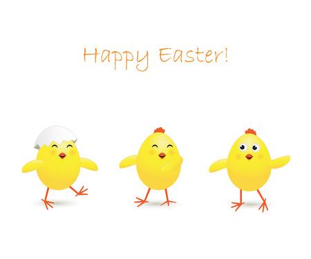 pollo caricatura: Tres pollo feliz Pascua en el fondo blanco, ilustración Vectores
