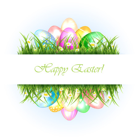 Abstract Easter background with grass and eggs, illustration. Vector