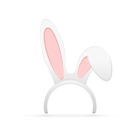 Easter mask with rabbit ears isolated on white background, illustration. Ilustração