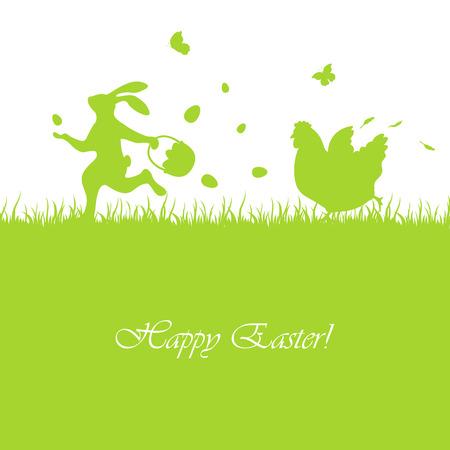 De groene achtergrond van Pasen met konijn en kip, illustratie.