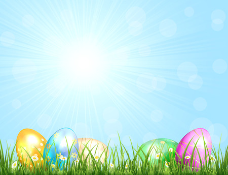 Sunny background with blue sky and Easter eggs in the grass, illustration. Vector