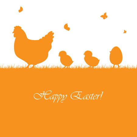 雌鶏および鶏、イラストとイースター オレンジ背景。