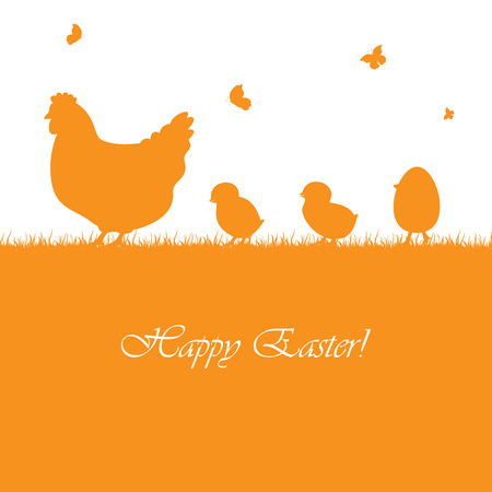 hen: Easter orange background with hen and chickens, illustration. Illustration