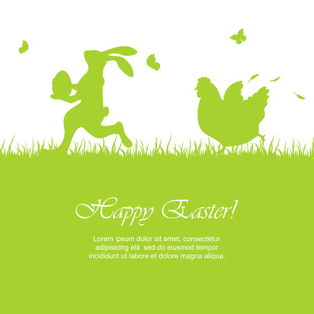 Easter green background with running rabbit and hen, illustration.
