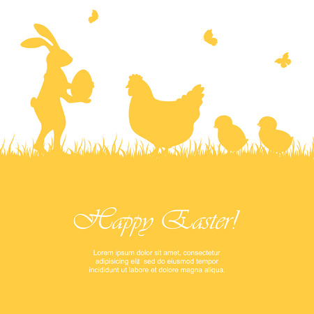 jackrabbit: Easter yellow background with hen and chickens, illustration. Illustration